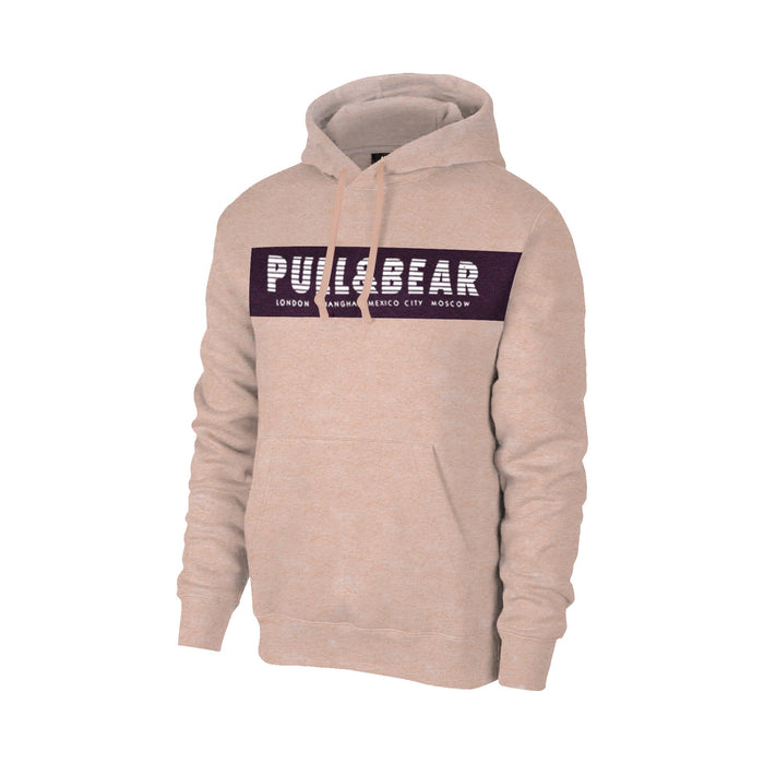 Pull & Bear Fleece Pullover Hoodie For Men-Peach Melange With Indigo Panel-BE13427