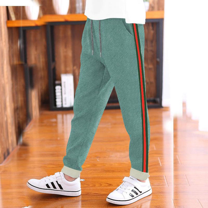Red Pearl Ribb Slim Fit Jogger Trouser For Kids-Light Green With Stripe-AN1655
