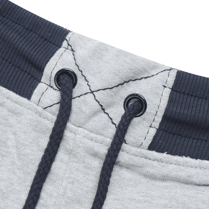 Red Pearl Terry Fleece Slim Fit Jogger Trouser For Kids-Grey Melange with White & Black Stripe-BE13318
