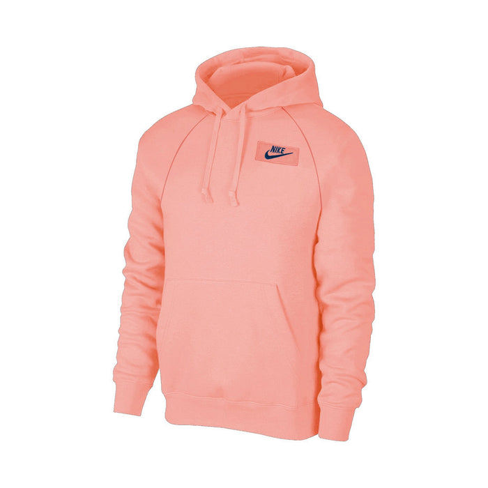 NK Terry Fleece Pullover Hoodie For Men-Coral Pink With Navy Embroidery-NA12675