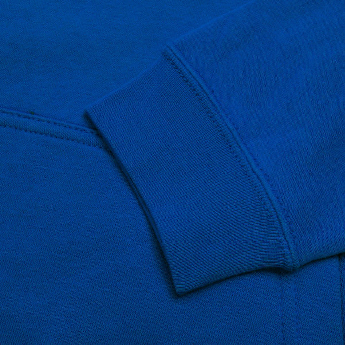Fleece Pullover Hoodie For Men-Dark Sky Blue with White Embroidery-NA12498
