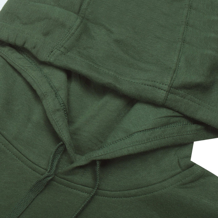 Fleece Pullover Hoodie For Men-Dark Olive Green With White Embroidery-BE13504