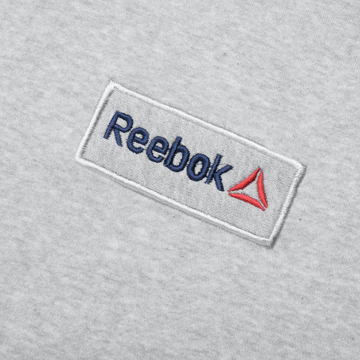Reebok Fleece Pullover Hoodie For Men-Grey Melange with Navy Embroidery-BE13186