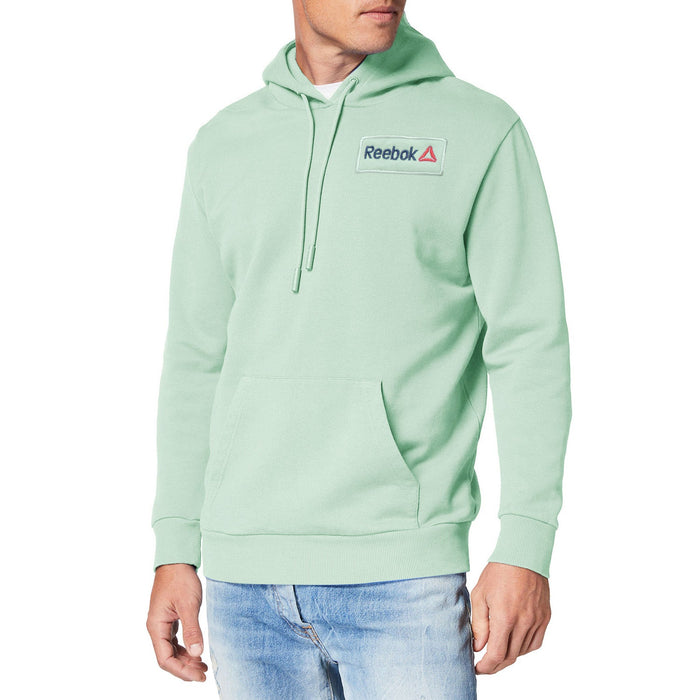 Fleece Pullover Hoodie For Men-Light Green with Navy Embroidery-BE13199