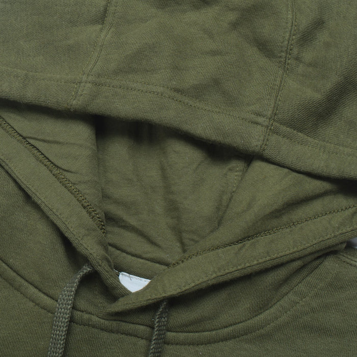 Reebok Fleece Pullover Hoodie For Men-Olive Green with White Embroidery-BE13188
