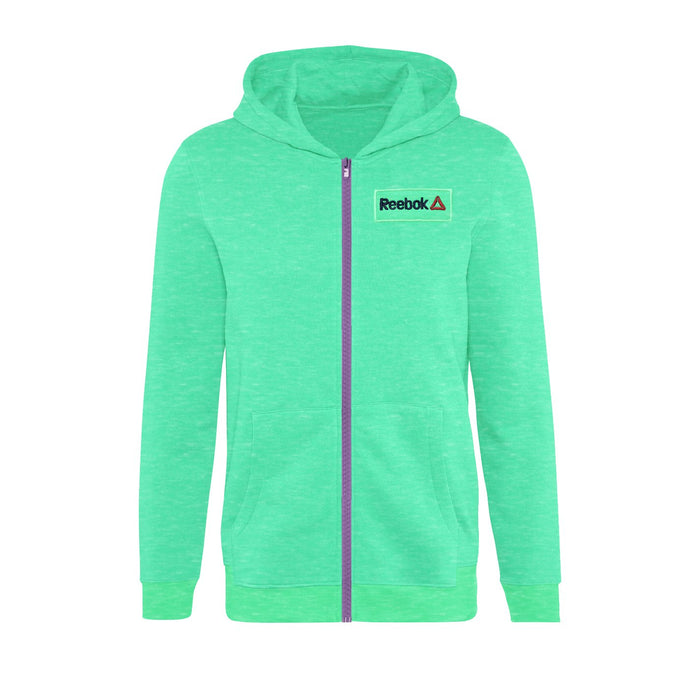 Fleece Zipper Hoodie For Men-Green Melange With Navy Embroidery-BE13805