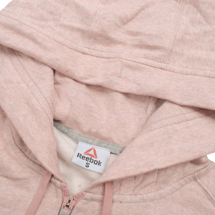 Fleece Zipper Hoodie For Men-Peach Melange With Navy Embroidery-BE13567
