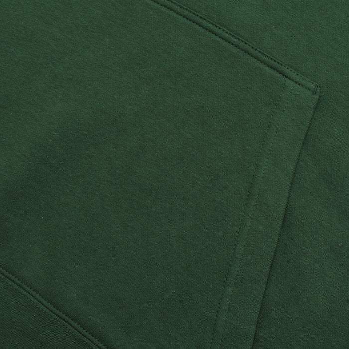 Fleece Pullover Hoodie For Men-Dark Green with White Embroidery-BE13181