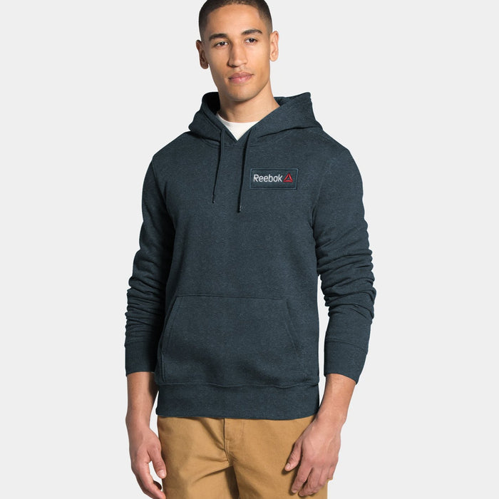 Fleece Pullover Hoodie For Men-Navy Melange with White Embroidery-BE13183
