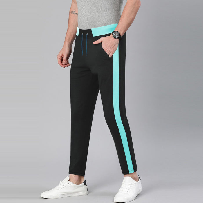 TH Both Seasons Regular Fit Trouser For Men-Black with Light Cyan Stripe-BE12691