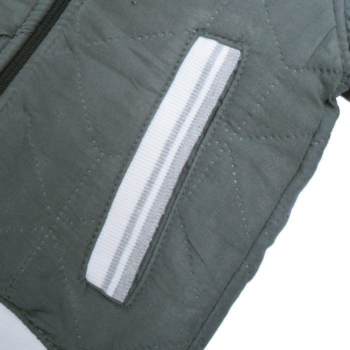 TH Quilted Zipper Baseball Jacket For Kids-Dark Grey-AN1994