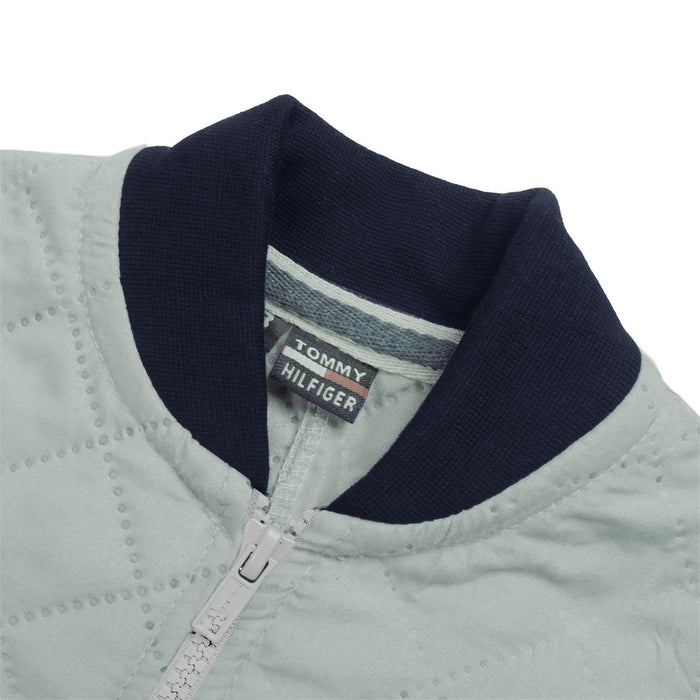 Quilted Zipper Baseball Jacket For Kids-Light Grey with Navy-BE13220