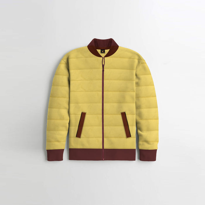 Quilted Zipper Baseball Jacket For Kids-Yellow with Maroon-BE13105
