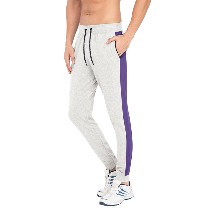 Tommy Hilfiger Summer Slim Fit Trouser For Men-Off White Melange with Purple Panel-BE12382