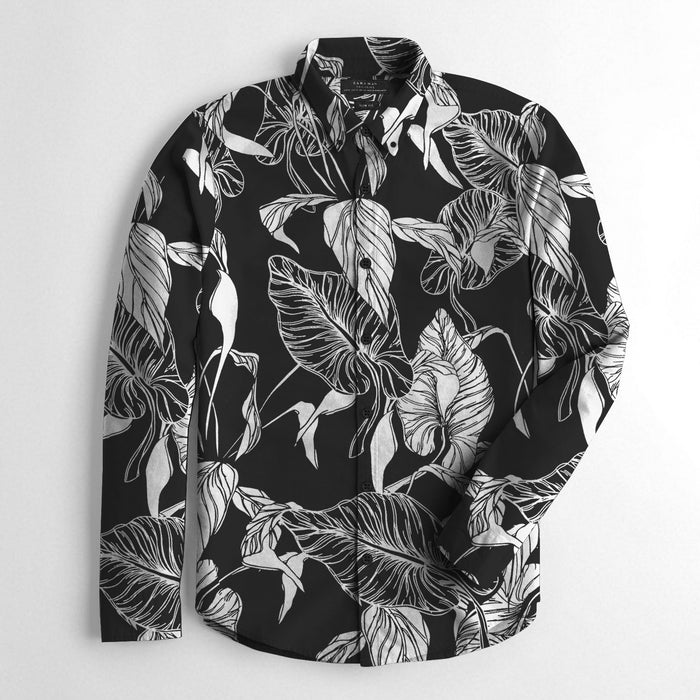 ZM Premium Slim Fit Casual Shirt For Men-Black with White Leaf Print-BE12511