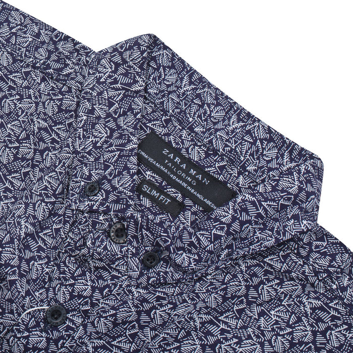 ZM Premium Slim Fit Casual Shirt For Men-Royal Blue with Allover Print-BE12524