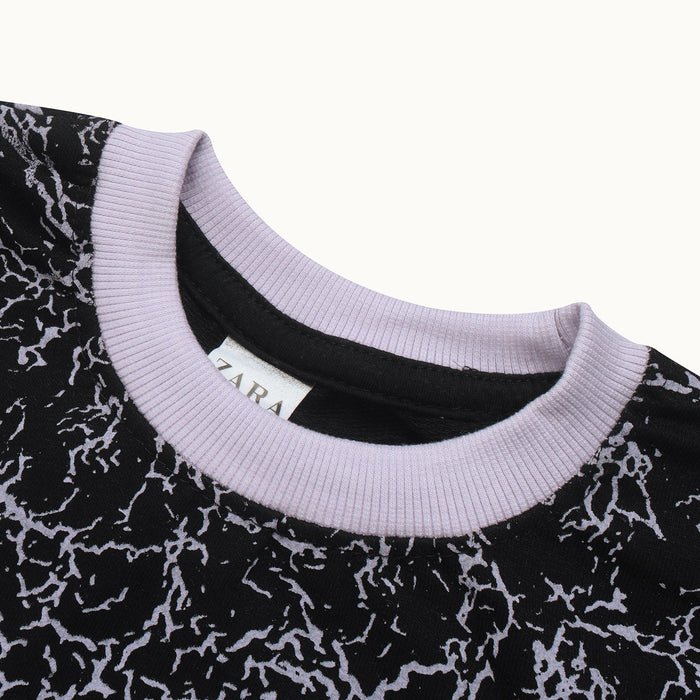 Terry Fleece Sweatshirt For Kids-Black with Allover Print-BE13118