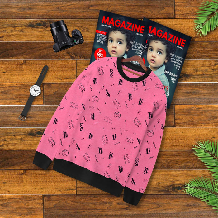 Terry Fleece Sweatshirt For Kids-Pink with Allover Print-BE13121