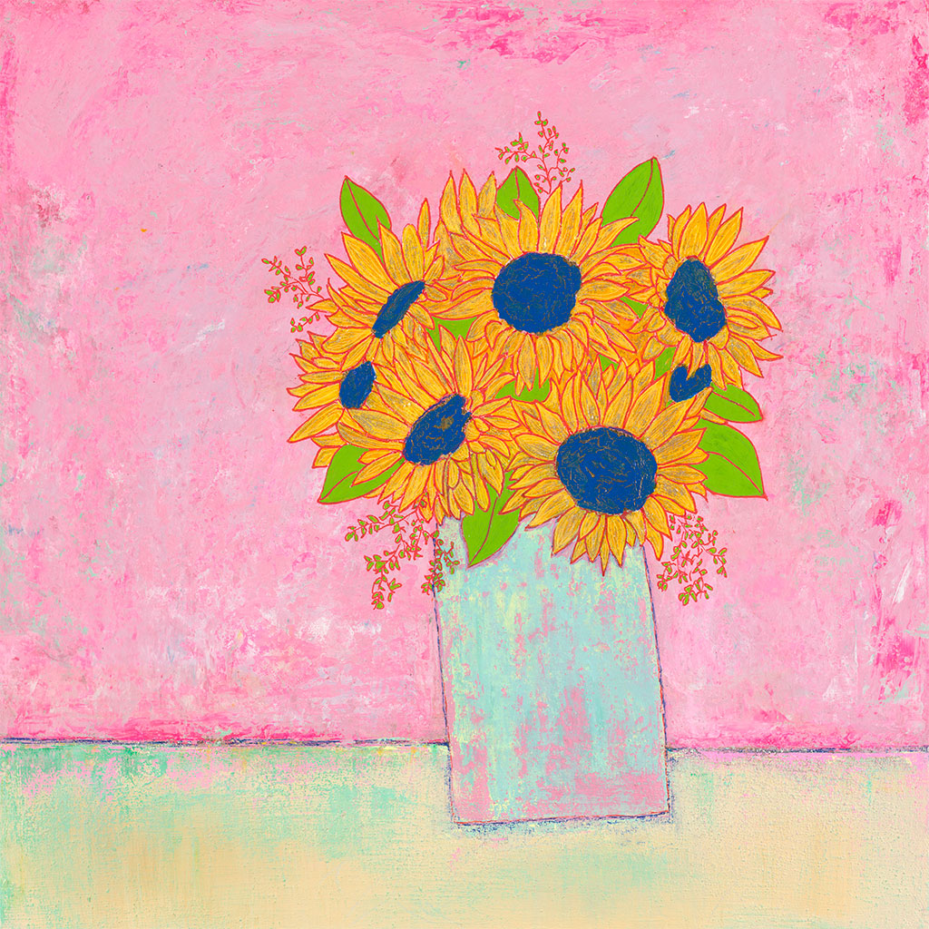 AC009 Sunflowers on Pink