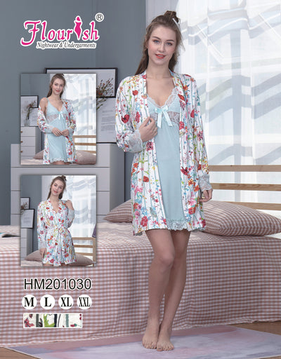 HM-201030-Gown Set - Sleep wear - Flourish Nightwear & Undergarments