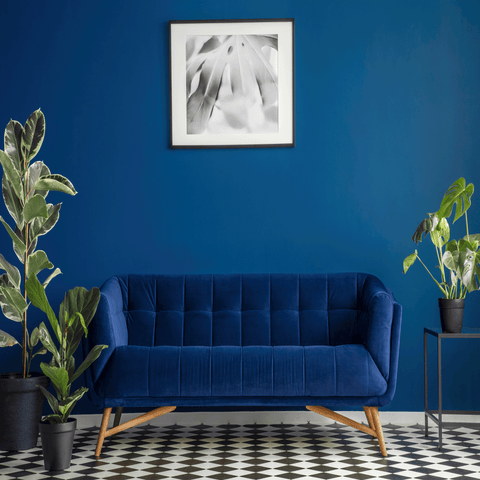 blue interior with print tiles