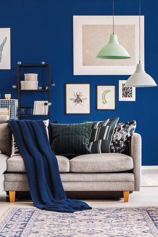 navy wall with prints