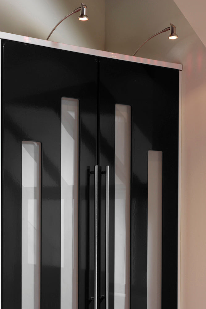 Hi gloss black wardrobe doors