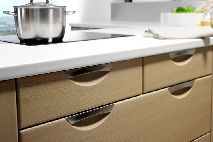 Scoop style drawer fronts with a wood finish