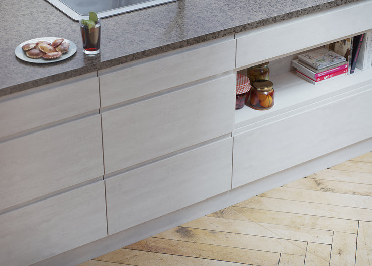 Handleless drawers with J-Pull