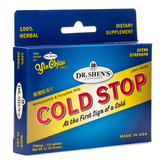 "photo of a box of Dr. Shen's Cold Stop, ""At the First Sign of A Cold"""