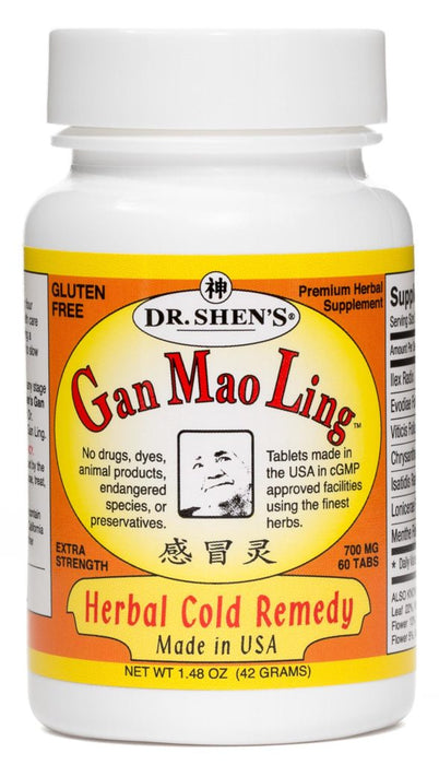 bottle of Dr. Shen's Gan Mao Ling herbal cold remedy