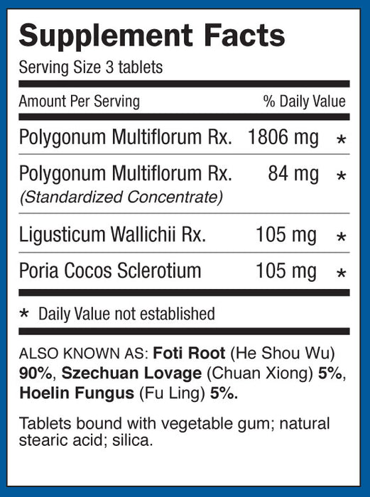 bottle of Dr. Shen's Shou Wu Supplement Facts and ingredients list