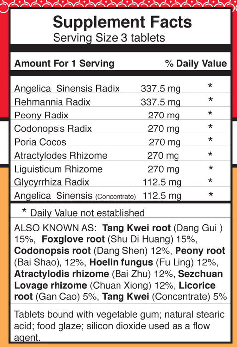 Dr. Shen's Women's Previous Pills supplement facts and ingredients list