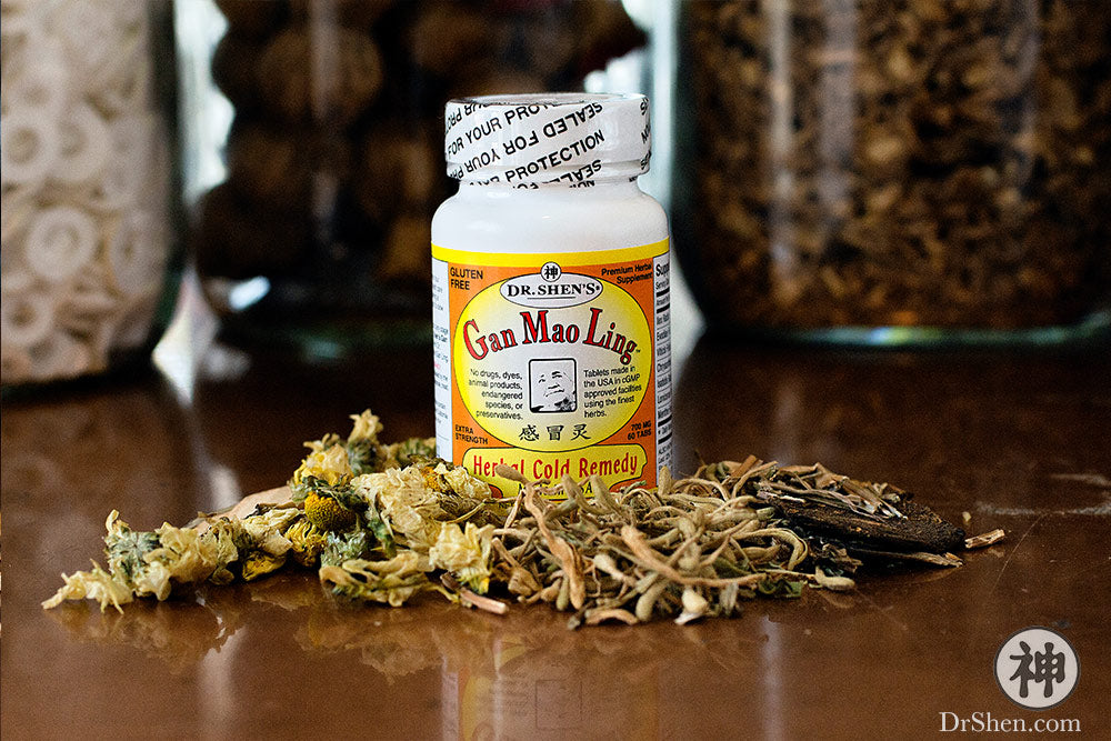 bottle of Dr. Shen's Gan Mao Ling herbal cold remedy on Chinese herbs