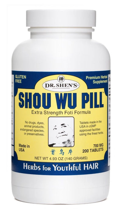 bottle of Dr. Shen's Shou Wu Pills for Youthful Hair