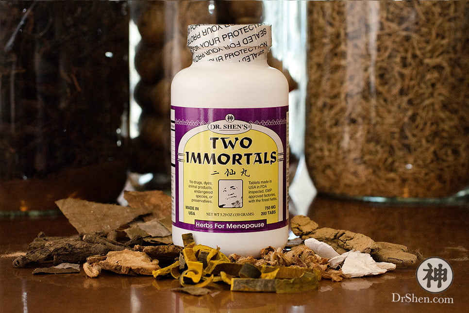 bottle of Dr. Shen's Two Immortals pills on Chinese herbs