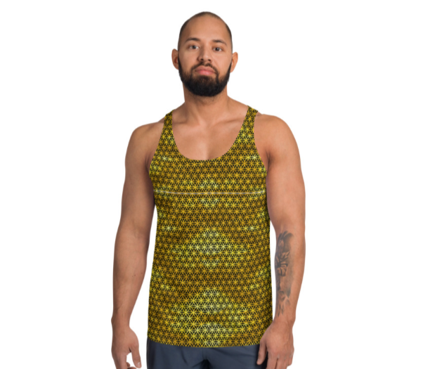 Golden Flower of Life Patterned Sacred Geometry Unisex Tank Top
