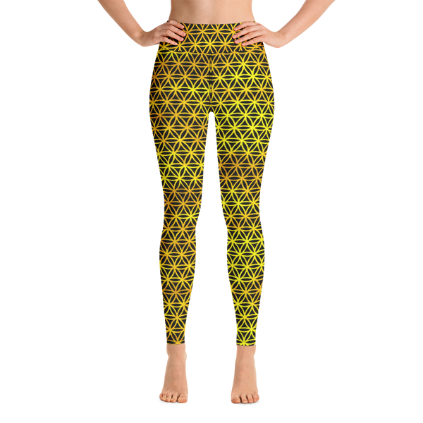 Golden Flower Of Life Athletic Leggings For Women