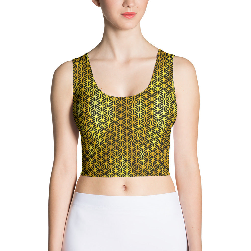 Illuminated Golden Flower of Life Crop Top