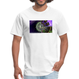 Mesmerizing Fractal Mandala Thrice Divided Graphic T-Shirt - white