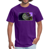 Mesmerizing Fractal Mandala Thrice Divided Graphic T-Shirt - purple