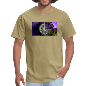 Mesmerizing Fractal Mandala Thrice Divided Graphic T-Shirt - khaki
