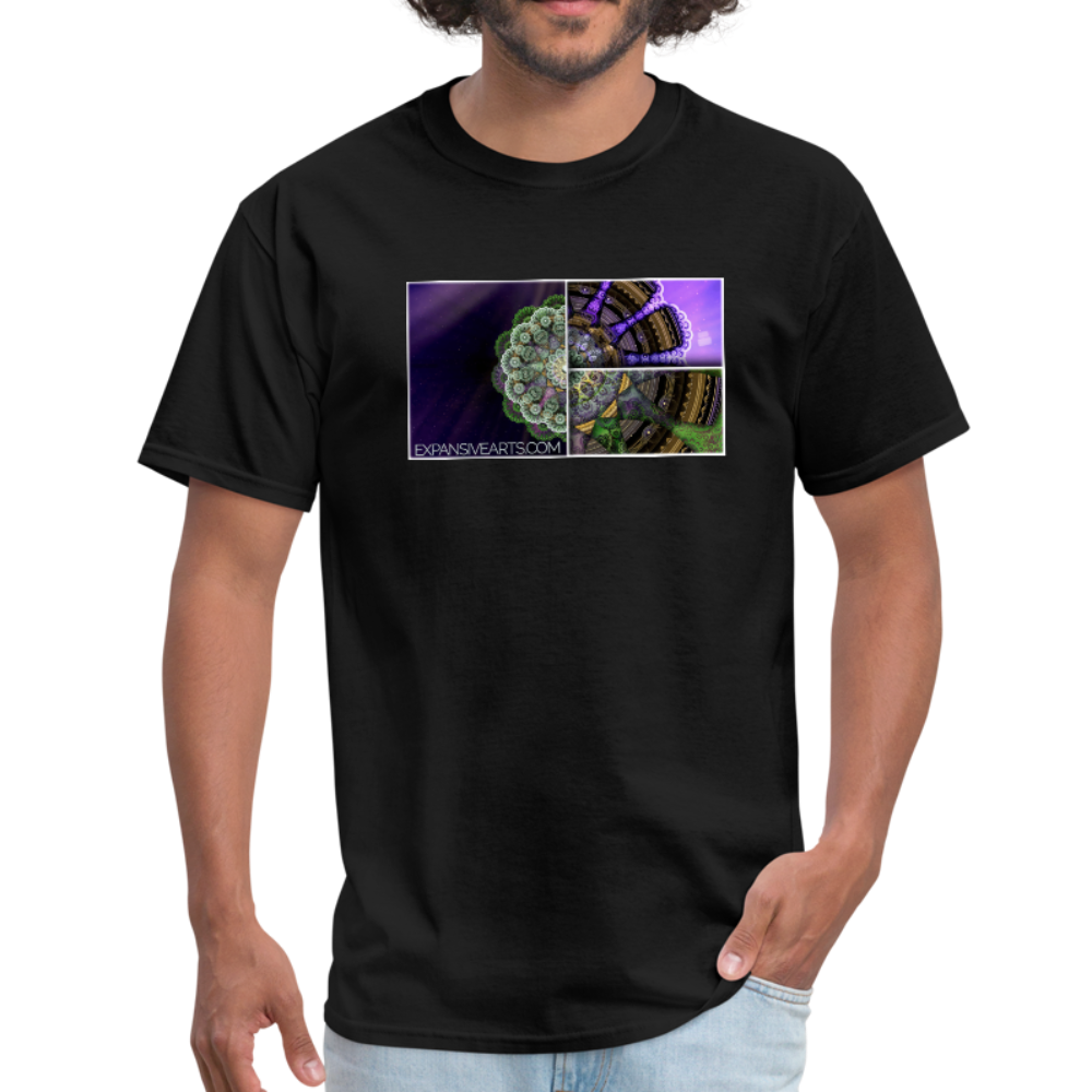 Mesmerizing Fractal Mandala Thrice Divided Graphic T-Shirt - black