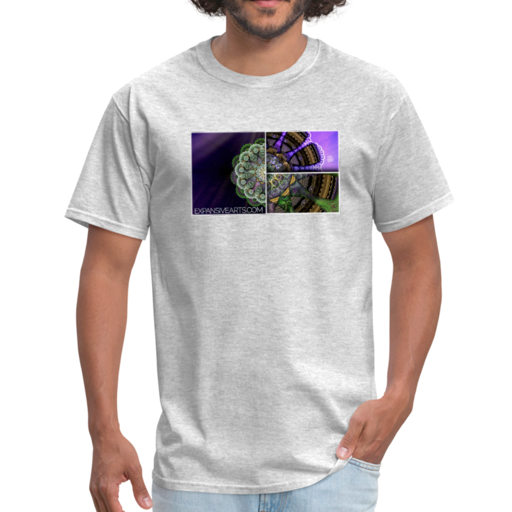 Mesmerizing Fractal Mandala Thrice Divided Graphic T-Shirt - heather gray