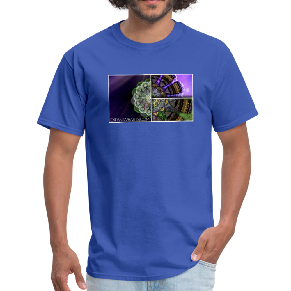 Mesmerizing Fractal Mandala Thrice Divided Graphic T-Shirt - royal blue