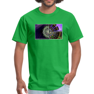 Mesmerizing Fractal Mandala Thrice Divided Graphic T-Shirt - bright green