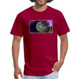Mesmerizing Fractal Mandala Thrice Divided Graphic T-Shirt - dark red