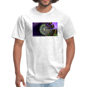 Mesmerizing Fractal Mandala Thrice Divided Graphic T-Shirt - light heather gray