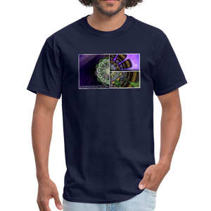 Mesmerizing Fractal Mandala Thrice Divided Graphic T-Shirt - navy