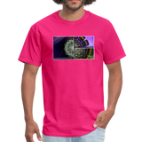 Mesmerizing Fractal Mandala Thrice Divided Graphic T-Shirt - fuchsia
